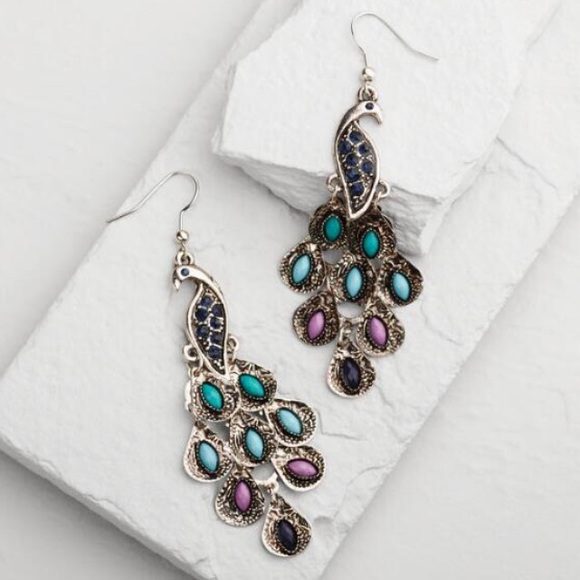 fd6ae29e12cb3 NWT World Market Silver Peacock Drop Earrings NWT